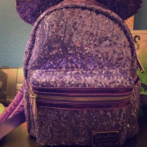 Loungefly Handbags - Minnie Mouse Purple Sequins Loungefly Backpack